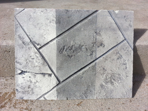 three ways stamped concrete can be antiqued - Here is an example of three ways stamped concrete can be antiqued. The portion on the left was done with traditional antiquing release powder. The center was antiqued with a water-based acrylic color dissolved in water. At right, an antiquing release powder was dispersed in a liquid release and applied. Photo courtesy of Chris Sullivan