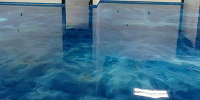 blue epoxy concrete floor