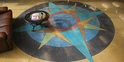 colorful concrete compass rose