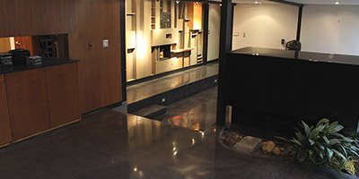 black concrete floor in art deco house