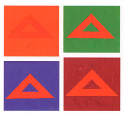 Look at the red triangles below. They were all cut from the same piece of paper and glued to background sheets of another hue.