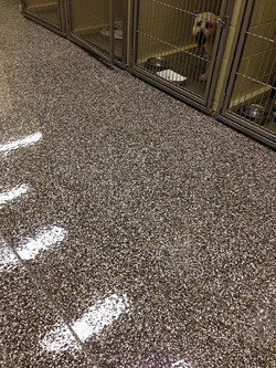 epoxy floor concrete with a mica chip full coverage broadcast topping.