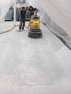 Before tackling this polishing job at Fort Bliss in El Paso, Texas, the contractor, DiamaShield, prepared a 250-square-foot sample area.