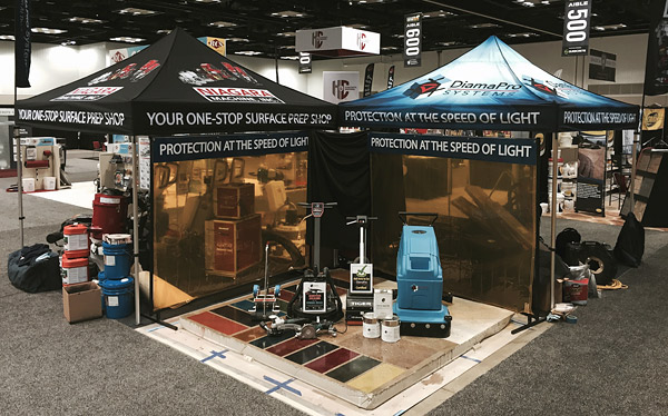 At the 2015 Concrete Decor Show in Indianapolis, Niagara Machine displays its DiamaPro Systems UV-HS products, as well as curing equipment available to purchase or rent. Photo courtesy of Niagara Machine