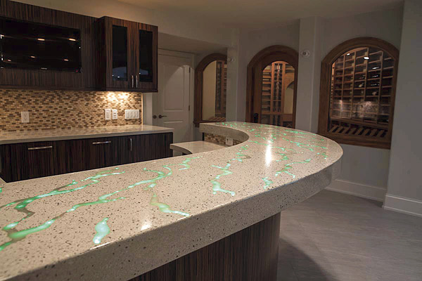 concrete countertop with fiber optics and texture
