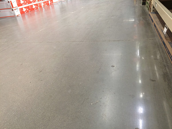 Concrete Sealer Wearing Off Of Polished Floor In A Huge Box S Aisle