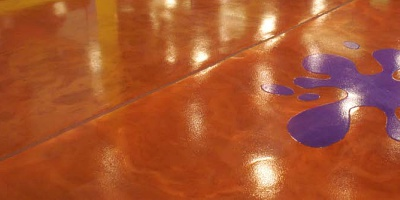 Metallic epoxy coating rich terracotta with a splash of purple