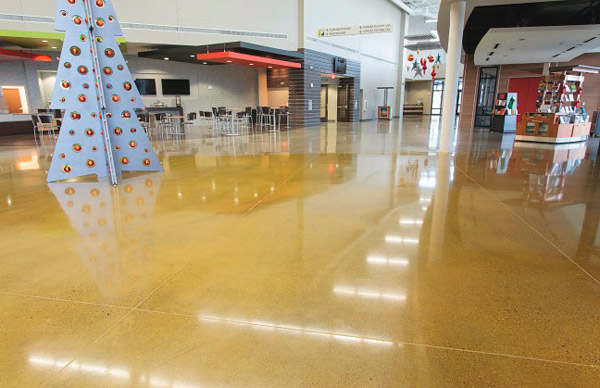 Texas Bomanite completed 21,725 square feet of concrete polished to a 1,500 grit finish. Judges were impressed at the magnitude of the project and the delineation of color. Seen here is a floor dyed with Bomanite Pineapple.