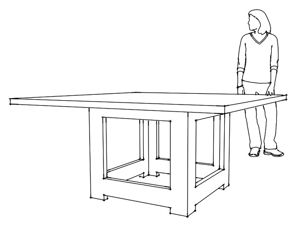 GFRC design drawing comparing the size of the table to a person standing.