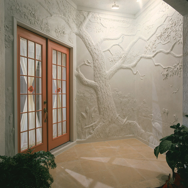 This sculptor from North Carolina imitates classical Greco-Roman walls which portrayed figures and events in low-relief carved marble. He starts flat and builds up his relief, using Sakrete's High-Strength Mortar/Stucco Mix. He adds layer upon layer without it cracking.