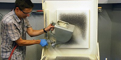 spraying GFRC for 3-D concrete projects