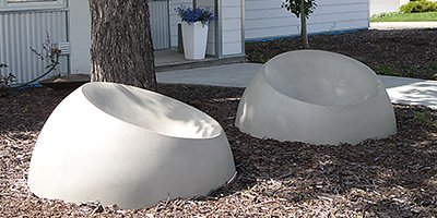 Luna Loungers, round concrete chairs