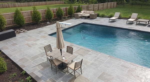gorgeous three tone pool deck with large pool