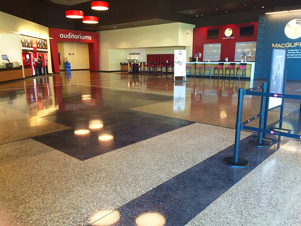 new polished concrete floor at AMC Theatre in St. Charles, Missouri