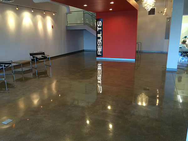 OSU brown stained and epoxy floor