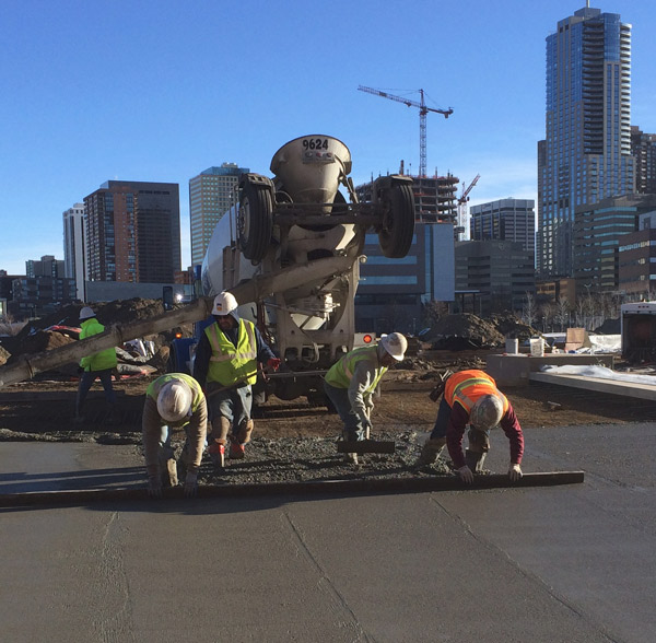 Even simple tools, such as a straight edge, can make a difference for a well-executed concrete pour. Photo courtesy of Colorado Hardscapes