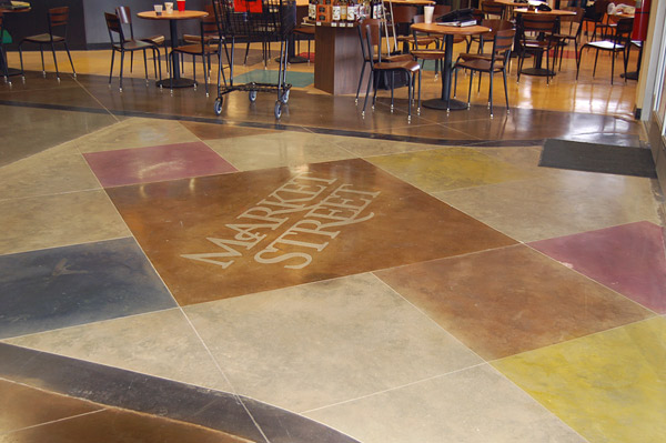 A dyed and polished concrete floor can contribute LEED credits.