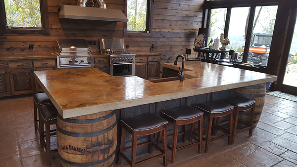 Stone Crete Artistry Whiskey Kitchen Uses Jack Daniels Barrels