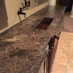 A custom two tone concrete countertop by Ben Ashby