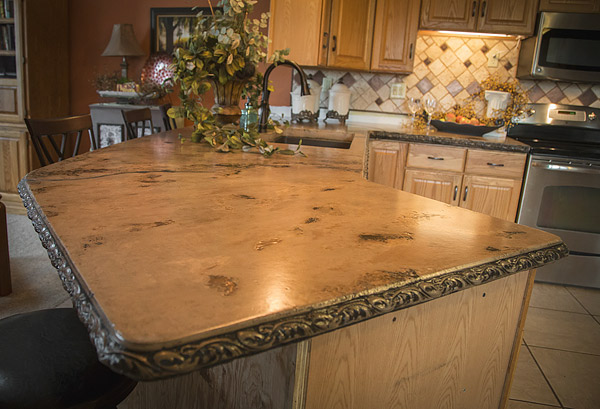 Beautiful Concrete Counter Top With Edge Details In Kitchen