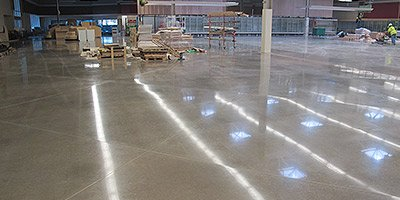 grey polished concrete in warehouse