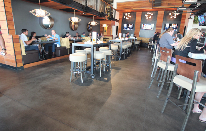 dark brown floor in restaurant