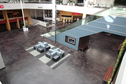 grey floor in lobby of mall