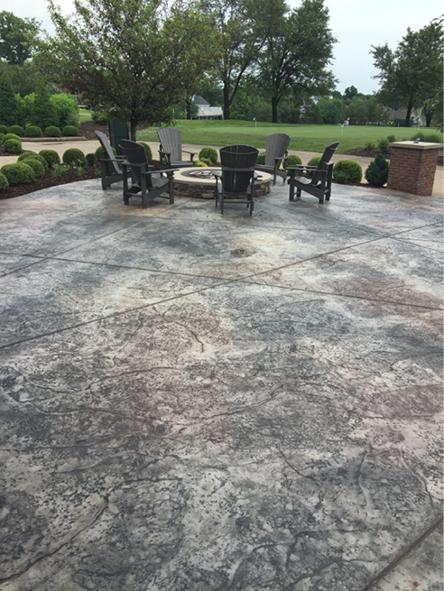 gorgeus outdoor patio with stamped concrete