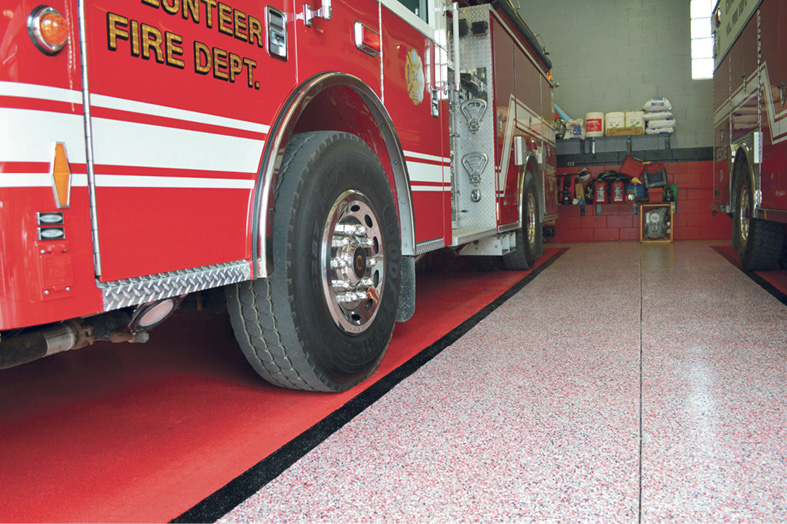 speckled white floor with red fire truck