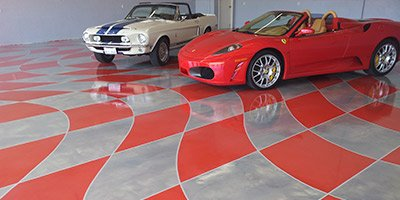 red and grey checkered floor at auto shop