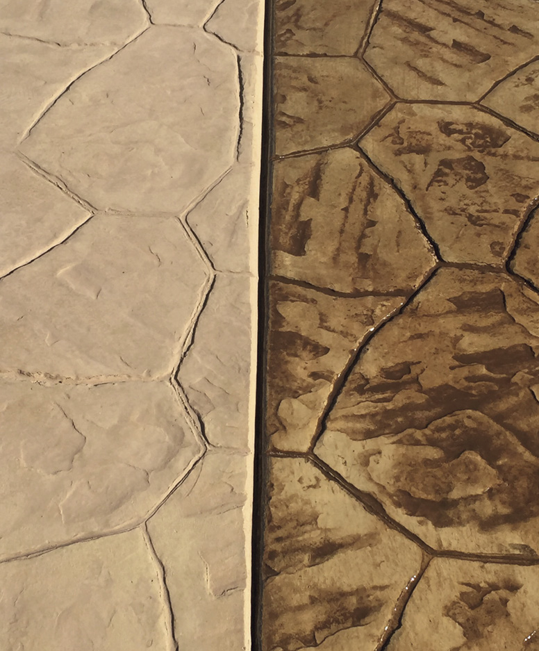 two stamped concrete applications side by side