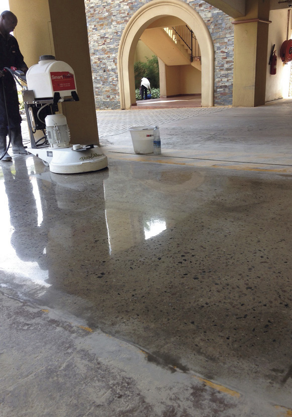 concrete polishing machine on burnished floor