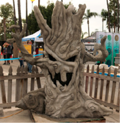 Spooky tree made of concrete at the Concrete Decor Show.
