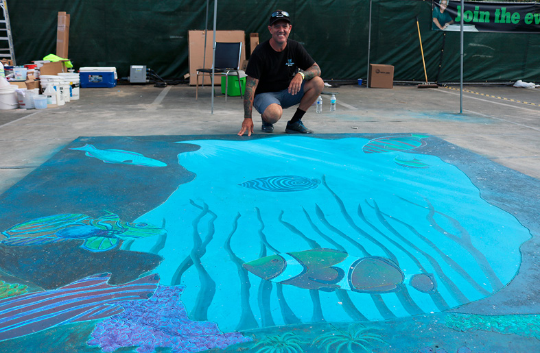 A first-time Brawl participant and third place winner of this year's Brawl in the Fall, Kevin Brown of KB Concrete Staining decided to take the plunge and present his talents firsthand by creating an underwater coral reef scene.