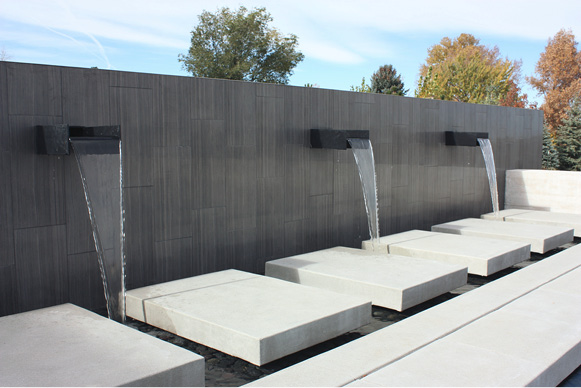flowing water concrete fountain at an angle