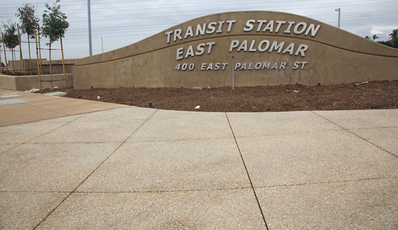 Sign at the transit station in east Palomar has pervious concrete and 334 cubic yards of Lithocrete.
