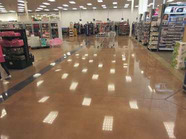 brown concrete floor in grocery store