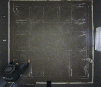 drawing out border with light chalk