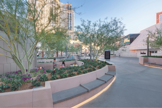 Some 18,000 square feet of poured-in-place and precast concrete walls and benches lined the walkways and featured a proprietary troweled-on finish that complemented the quarried stone flatwork.
