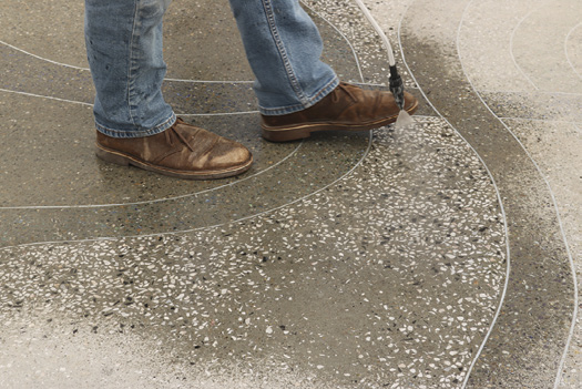 exposed aggregate inside decorative concrete live