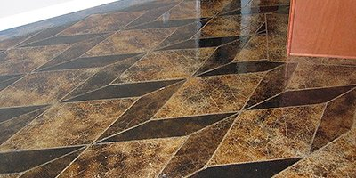 How staining concrete can look like geometric tile.
