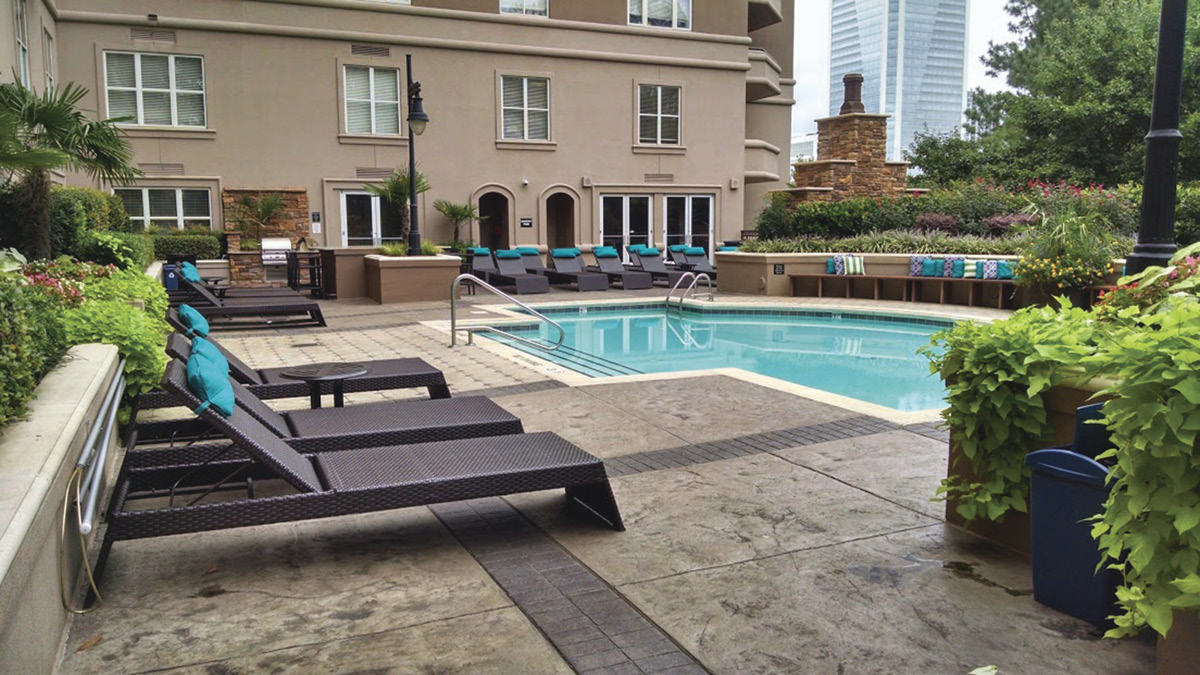 Stamped Concrete pool deck at a luxury high end resort.