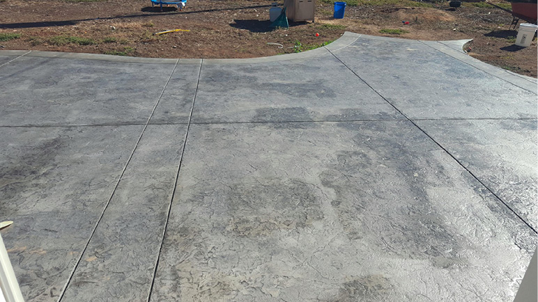 wet looking concrete sealer that does not have a consistent look. Sealer is sparse in some areas.