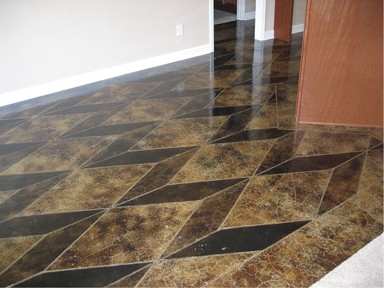 Scoring And Staining Concrete For Geometric Designs