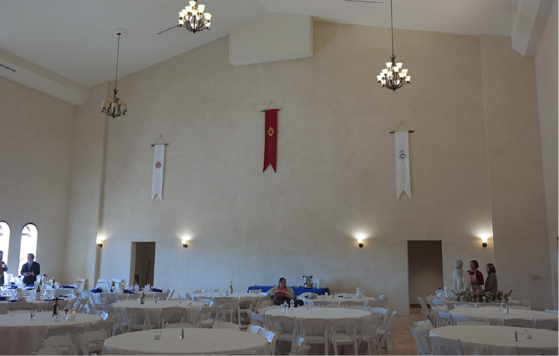 Large church multipurpose room is coated with a polymer modified concrete coating by Pure Texture.