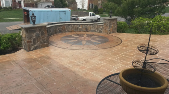 Compass rose in a front yard courtyard greets and impresses guests.