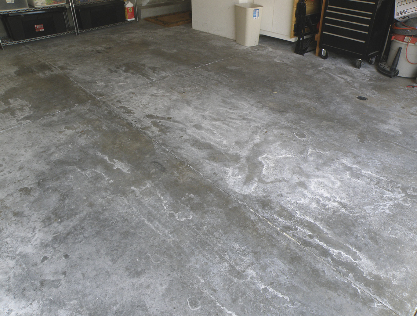 Moisture in concrete slabs can be due to topography, skipped testing, improper application or other factors. Seen here is severe blooming efflorescence, one of the unsightly results of excess moisture.