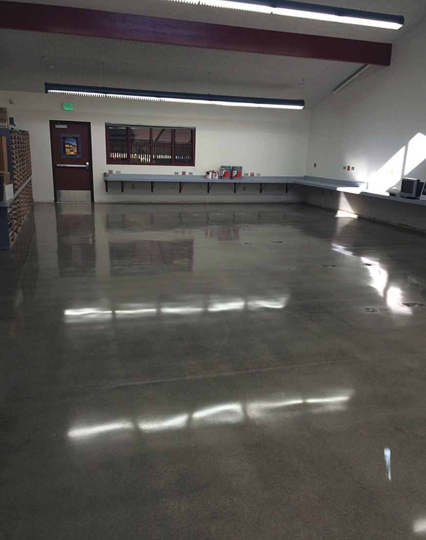 School personnel in the Elk Grove Unified School District of California are finding they can easily maintain polished floors and reap a huge savings. Pictured here are a before and after of an area in Laguna Creek High School.