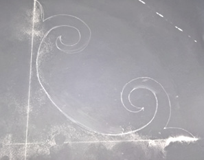chalk drawing of a design for a concrete medallion.
