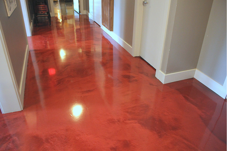 Red epoxy floor in a restaurant.
